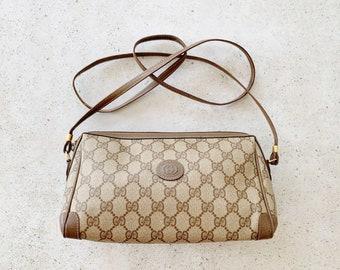Vintage Bag | GUCCI GG Logo Monogram Shoulder Crossbody Bag Purse 70s 80s Brown Gold