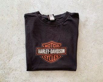 Vintage T-Shirt | HARLEY DAVIDSON Motorcycle Top Shirt Graphic Tee 90's Black | Size M