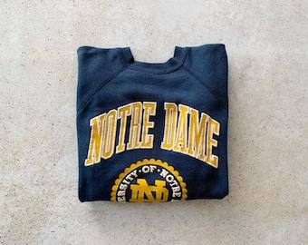 Vintage Sweatshirt | NOTRE DAME University College 80's 90's Raglan Pullover Top Shirt Sweater Navy Blue | Size M