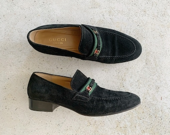 Vintage Shoes | GUCCI GG Logo Monogram Black Suede Green Red Loafers Slip-ons Shoes 80's | Size 8.5 US