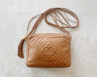 Vintage Bag | CHANEL Quilted Camera Matelasse Leather Shoulder Bag Purse CC Logo Monogram Brown Tan Camel Gold