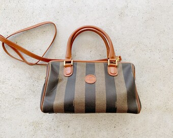 Vintage Bag | FENDI Pequin Stripe Logo Satchel Crossbody Boston Bag Brown Tan Neutral