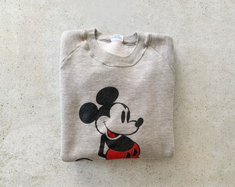 Vintage Sweatshirt | MICKEY MOUSE 80's Raglan Pullover Top Shirt Sweater Cartoon Gray | Size M