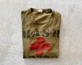Vintage T-Shirt | MASH 80's Graphic Pullover Top Shirt Army Green | Size M