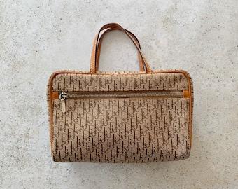 Vintage Bag | DIOR Trotter Logo Monogram Purse Satchel Clutch Pouch 90's Neutral Tan Beige Brown Boho Bohemian