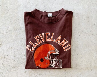 Vintage T-Shirt | CLEVELAND BROWNS 80's Football Shirt Faded Distressed Streetwear Brown Orange | Size M/L