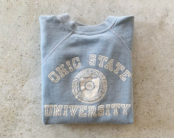 Vintage Sweatshirt | OHIO STATE University College Raglan Pullover Top Shirt Sweater Short Sleeve 70's 80's Blue White | Size M