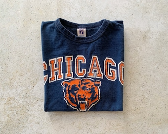 Vintage T-Shirt | CHICAGO BEARS 80's Football Sports Shirt Top Pullover Blue Orange | Size M/L