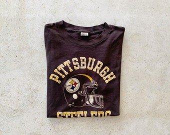 Vintage T-Shirt | PITTSBURGH STEELERS Football Pullover Shirt NFL 80's Black | Size M