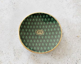 Vintage Dish | GUCCI Monogram GG Logo Trinket Catchall Dish Tray Plate 80s Porcelain Home Decor Green Gold
