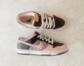 Vintage Shoes | NIKE Women's Dunk Low Picnic Plaid Gingham Pink Black | Size 10