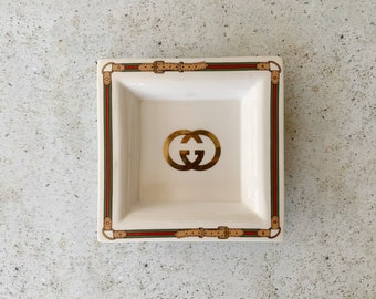 Vintage Dish | GUCCI Logo Monogram Ashtray Dish Plate Tray Porcelain Italy Equestrian Decor 70's 80's