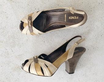 Vintage Shoes | FENDI Metallic Suede Leather Heels Pumps Shoes / Size 37 EU / 6.5 - 7 US