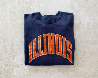 Vintage Sweatshirt | ILLINOIS Faded Distressed Raglan Pullover Top Shirt Sweater 80's 90's Navy Blue | Size M/L