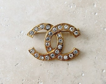 Vintage Brooch   CHANEL CC Classic Logo Monogram Brooch Pin Gold Rhinestone 80's Designer