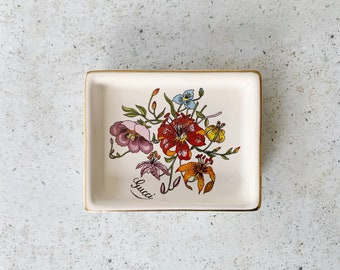 Vintage Dish | GUCCI Porcelain Flora Floral Botanical Plate Dish Tray Decor 80s Wildflowers