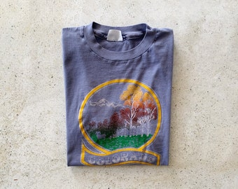 Vintage T-Shirt | COLORADO Mountains Nature Outdoor Hiking 80's Top Shirt Pullover Blue Gray | Size S/M