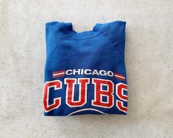 Vintage Sweatshirt | CHICAGO CUBS Baseball 80's Raglan Pullover Top Shirt Sweater Blue Red | Size S