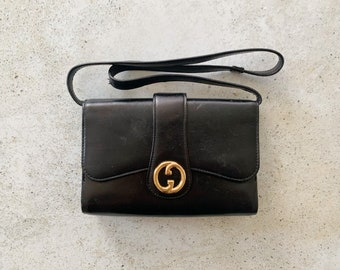 Vintage Bag | GUCCI GG Logo Monogram Leather Designer Shoulder Bag Purse 70's 80's Black Gold