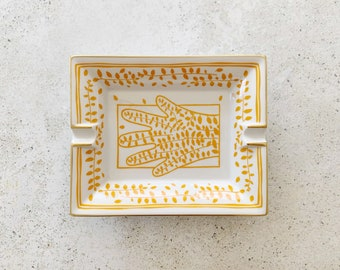 Vintage Dish | HERMÈS Porcelain Tray Dish Plate Ashtray Catchall Trinket Dish Candle Tray White Orange 80's 90's