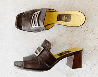 Vintage Shoes | FENDI Block Heel Logo Mules Slides Clogs Sandals Black Leather Silver 90's | Size 8.5 US