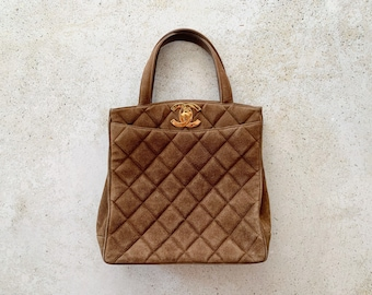 Vintage Bag | CHANEL Quilted Matelasse Suede Leather Brown Shoulder Purse Tote Carryall 90's
