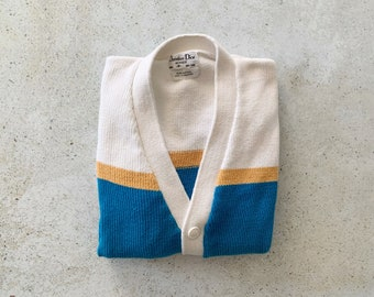 Vintage Sweater | DIOR Cardigan Knit Buttoned Top Shirt Buttondown Striped White Teal Yellow | Size S/M