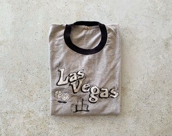 Vintage T-Shirt | LAS VEGAS Ringer Tee Top Shirt Pullover Gray Black | Size M