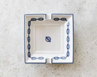 Vintage Dish | HERMÈS Paris Porcelain Chaine d'Ancre Ashtray Plate Catchall Trinket Dish Candle Tray Blue White 80's 90's