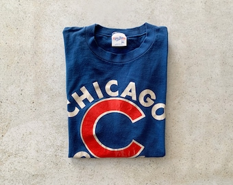 Vintage T-Shirt | CHICAGO CUBS Baseball 80's Pullover Top Shirt Streetwear Blue Red | Size L
