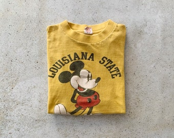 Vintage T-Shirt | LOUISIANA STATE 80's Mickey Mouse Disney Graphic Cartoon College University Pullover Top Shirt Yellow | Size S