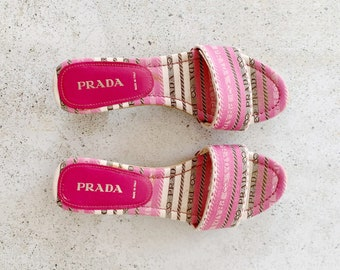 Vintage Shoes | PRADA Logo Slides Sandals Mules Pink White 90s | Size 37 EU / 6.5 - 7 US
