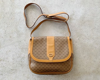 Vintage Bag | GUCCI GG Logo Monogram 70's 80's Boho Bohemian Neutral Brown Tan Neutral