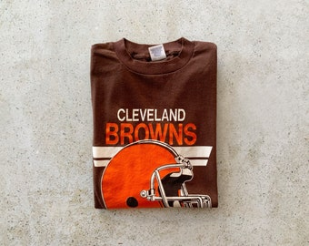 Vintage T-Shirt   CLEVELAND BROWNS 80's Football Sports Shirt Pullover Top Brown Orange   Size M/L