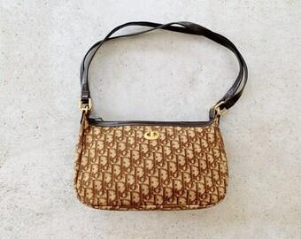 Vintage Bag | DIOR Trotter Logo Monogram Canvas Shoulder Bag Purse 70s 80s Brown Beige Tan
