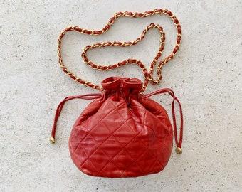 Vintage Bag | CHANEL CC Logo Monogram Bucket Drawstring 80's Shoulder Bag Purse Quilted Designer Authentic Leather Lambskin 80's Red Gold