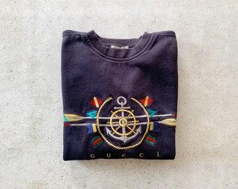 Vintage Sweatshirt   GUCCI Pullover Sweater Top Shirt Nautical Coastal Beach Sailer Anchor 80's Navy Blue   Size S