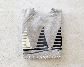 Vintage Sweatshirt | SAN FRANCISCO Short Sleeve Raglan Pullover Sweatshirt Sweater Coastal Beach Nautical California 80's Gray | Size M