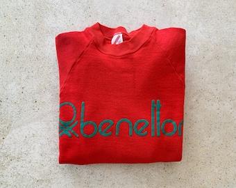 Vintage Sweatshirt | LOGO 80s Raglan Pullover Top Shirt Sweater Streetwear Red | Size M