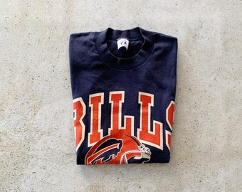 Vintage T-Shirt | BUFFALO BILLS Football NFL 80's Pullover Top Shirt Navy Blue Red | Size M
