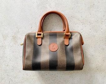 Vintage Bag | FENDI FF Pequin Striped Mini Boston Bag Purse Satchel Clutch