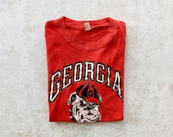 Vintage T-Shirt   GEORGIA BULLDOGS Graphic College Football Pullover Top Shirt 80's 90's Red White   Size S