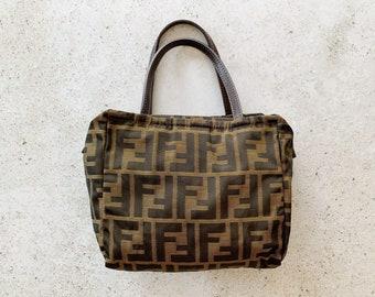 Vintage Bag   FENDI FF Logo Monogram Zucca Mini Satchel Brown
