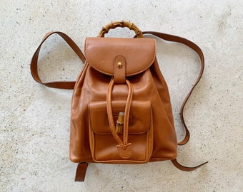 Vintage Bag   GUCCI GG Bamboo Leather Mini Backpack Satchel Clutch Shoulder Bag 80's 90's Streetwear Brown Tan Beige Sand Camel  Gold