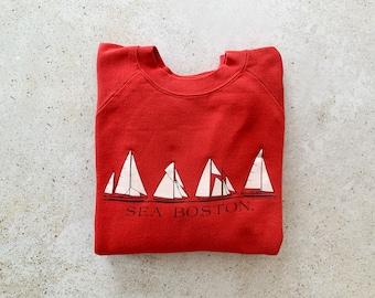 Vintage Sweatshirt   BOSTON Ocean Sea Nautical Coastal Beach Sailing Raglan Top Shirt Sweater Pullover Red   Size M/L