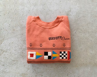Vintage Sweatshirt NAUTICAL Flags Sailing Coastal Ocean Raglan Pullover Top Shirt Sweater Peach   Size XS/S