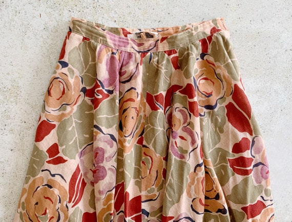 Vintage Skirt | DIOR Floral Midi Garden Skirt Cot… - image 2
