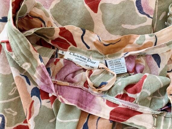 Vintage Skirt | DIOR Floral Midi Garden Skirt Cot… - image 5