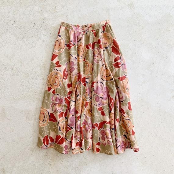 Vintage Skirt | DIOR Floral Midi Garden Skirt Cot… - image 1