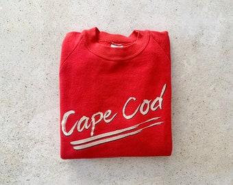 Vintage Sweatshirt   CAPE COD 80's Raglan Pullover Top Shirt Sweater Beach Coastal Resort Red   Size S/M